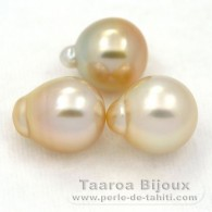 Lot of 3 Australian Pearls Semi-Baroque B from 10.1 to 10.4 mm
