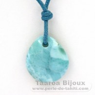 Waxed cotton Necklace and 1 Larimar - 17 x 15 x 5.1 mm - 1.96 gr