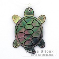 Tahitian Mother-of-Pearl Turtle Pendant (Pinctada Margaritifera)