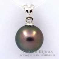 Rhodiated Sterling Silver Pendant and 1 Tahitian Pearl Round C 12.5 mm