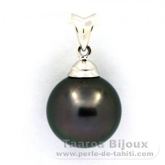 Rhodiated Sterling Silver Pendant and 1 Tahitian Pearl Round C 12.4 mm