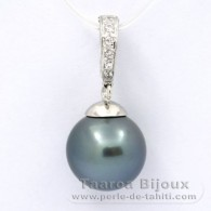 Rhodiated Sterling Silver Pendant and 1 Tahitian Pearl Round C 13 mm