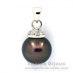 Rhodiated Sterling Silver Pendant and 1 Tahitian Pearl Round C 11.9 mm