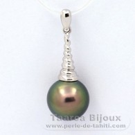 .925 Solid Silver Pendant and 1 Tahitian Pearl Round C 11 mm