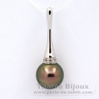 .925 Solid Silver Pendant and 1 Tahitian Pearl Round C 10.6 mm