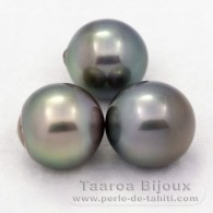 Lot of 3 Tahitian Pearls Semi-Baroque C from 12 to 12.4 mm