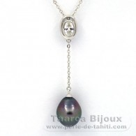 Rhodiated Sterling Silver Necklace and 1 Tahitian Pearl Semi-Baroque B 10.3 mm