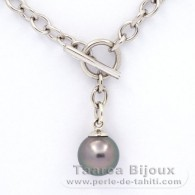Rhodiated Sterling Silver Bracelet and 1 Tahitian Pearl Round C 10.2 mm