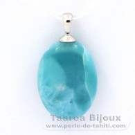 Rhodiated Sterling Silver Pendant and 1 Larimar - 20 x 14.5 x 7.7 mm - 3.75 gr