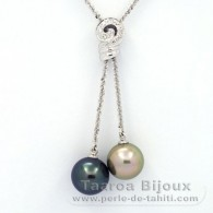 Rhodiated Sterling Silver Necklace and 2 Tahitian Pearls Round C+ 11.7 and 12 mm