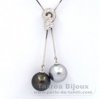 Rhodiated Sterling Silver Necklace and 2 Tahitian Pearls Round C+ 11.5 and 11.8 mm