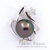 .925 Solid Silver Pendant and 1 Tahitian Pearl Round C 9.6 mm