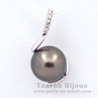 .925 Solid Silver Pendant and 1 Tahitian Pearl Round C 9.9 mm