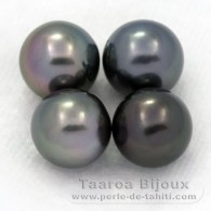 Lot of 4 Tahitian Pearls Round C from 8 to 8.4 mm
