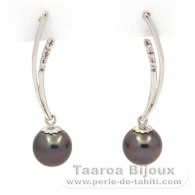 .925 Solid Silver Earrings and 2 Tahitian Pearls Round 1 B & 1 C 8.9 mm