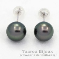 18K Solid White Gold Earrings and 2 Tahitian Pearls Round 1 A & 1 B 8.6 mm