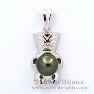 .925 Solid Silver Pendant and 1 Tahitian Pearl Round C 8.8 mm