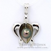 .925 Solid Silver Pendant and 1 Tahitian Pearl Round C 8.3 mm