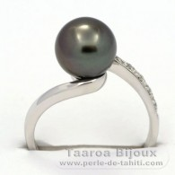 Rhodiated Sterling Silver + Rhodium Ring  and 1 Tahitian Pearl Round A  8.8 mm