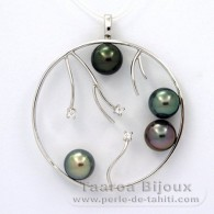Rhodiated Sterling Silver Pendant and 4 Tahitian Pearls Round C  8.2 to 8.4 mm
