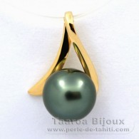 18K solid Gold Pendant and 1 Tahitian Pearl Round B 8 mm