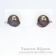 Rhodiated Sterling Silver Earrings and 2 Tahitian Pearls Round C 9.2 mm