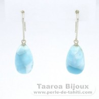 14K White solid Gold Earrings and 2 Larimar - 14 x 8.3 x 7.2 mm - 2.73 gr