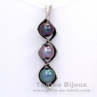 Rhodiated Sterling Silver Pendant and 3 Tahitian Pearls Semi-Baroque B  9 to 9.4 mm