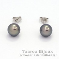 .925 Solid Silver Earrings and 2 Tahitian Pearls Round C 8.1 mm