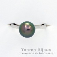 18K Solid White Gold Ring and 1 Tahitian Pearl Round B+ 9.2 mm