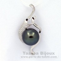 Rhodiated Sterling Silver Pendant and 1 Tahitian Pearl Semi-Baroque C 11.3 mm
