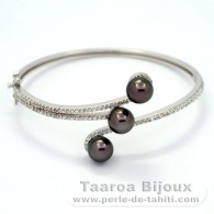 Rhodiated Sterling Silver Bracelet and 3 Tahitian Pearls Round C 8 mm