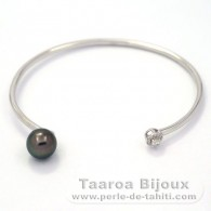 Rhodiated Sterling Silver Bracelet and 1 Tahitian Pearl Round C 8.9 mm