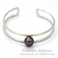 Rhodiated Sterling Silver Bracelet and 1 Tahitian Pearl Round C 10 mm