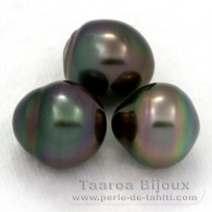 Lot of 3 Tahitian Pearls Semi-Baroque B from 11 to 11.2 mm