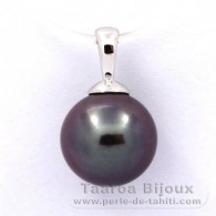 18K Solid White Gold Pendant and 1 Tahitian Pearl Round B 9.6 mm