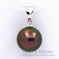 18K Solid White Gold Pendant and 1 Tahitian Pearl Round B 9 mm