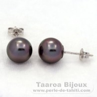 18K Solid White Gold Earrings and 2 Tahitian Pearls Round B 8.4 mm
