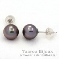18K Solid White Gold Earrings and 2 Tahitian Pearls Round B 8 mm