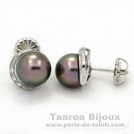 Rhodiated Sterling Silver Earrings and 2 Tahitian Pearls Round C 8.8 mm