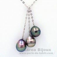 Rhodiated Sterling Silver Necklace and 3 Tahitian Pearls Ringed B 8.8 mm