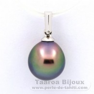 18K Solid White Gold Pendant and 1 Tahitian Pearl Semi-Baroque B+ 9.6 mm