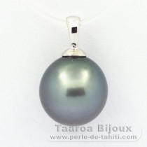 18K Solid White Gold Pendant and 1 Tahitian Pearl Semi-Baroque B 11.6 mm