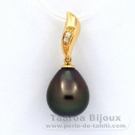 18K solid Gold Pendant + 2 diamonds 0.018 carats HS1 and 1 Tahitian Pearl Semi-Baroque A 10.7 mm