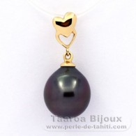 18K solid Gold Pendant and 1 Tahitian Pearl Semi-Baroque A 10.4 mm