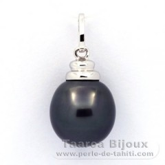 18K Solid White Gold Pendant and 1 Tahitian Pearl Semi-Baroque B 11.5 mm