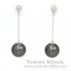 14K solid Gold Earrings and 2 Tahitian Pearls Round B 8 and 8.1 mm