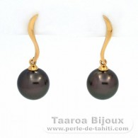 18K solid Gold Earrings and 2 Tahitian Pearls Round B 9.4 mm