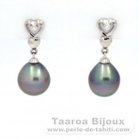 Rhodiated Sterling Silver Earrings and 2 Tahitian Pearls Semi-Baroque B 8.6 and 8.8 mm