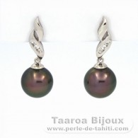 .925 Solid Silver Earrings and 2 Tahitian Pearls Round C 9 mm